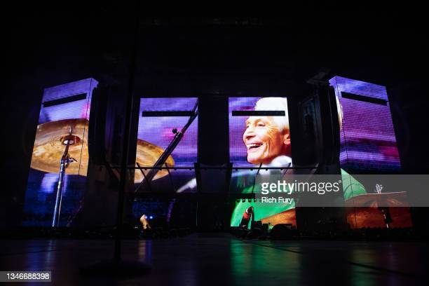 Tribute to Charlie Watts is played before The Rolling Stones performance at SoFi Stadium on October 14, 2021 in Inglewood, California.