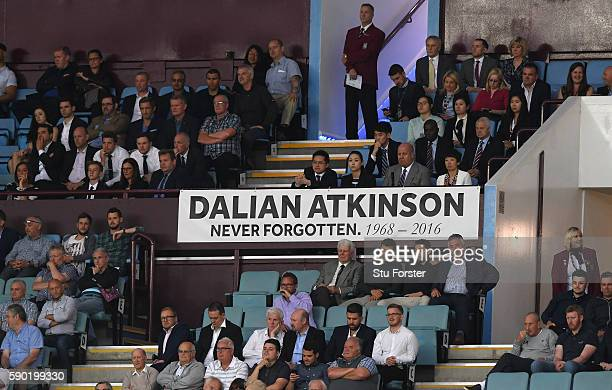 A tribute to Dalian Atkinson is seen during the Sky Bet Championship match between Aston Villa and Huddersfield Town at Villa Park on August 16 2016...