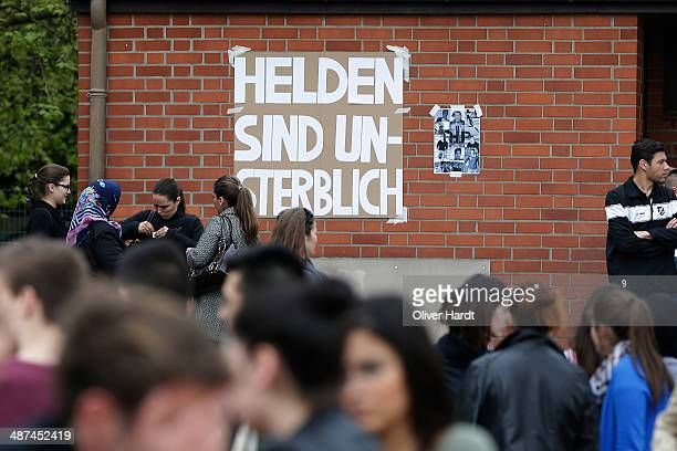 A tribute to Diren Dede in seen at his local football club SC Teutonia 1910 on April 30 2014 in Hamburg Germany German student Diven was fatally shot...