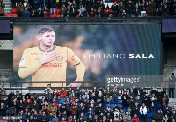 Tribute to Emiliano Sala before the french Ligue 1 match between Paris SaintGermain and Girondins de Bordeaux at Parc des Princes on February 9 2019...