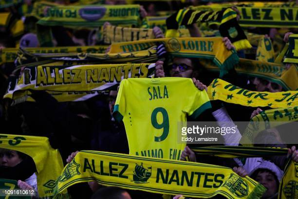 Tribute to Emiliano Sala by supporters of Nantes during the Ligue 1 match between Nantes and Saint Etienne at Stade de la Beaujoire on January 30...