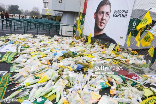 Tribute to Emiliano Sala on the grids of the stadium during the French Cup match between Nantes and Toulouse at Stade de la Beaujoire on February 5,...