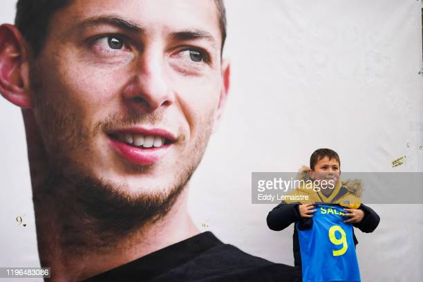 Tribute to Emiliano SALA with flowers under his photo at the entrance of the stadium during the Ligue 1 match between Nantes and Bordeaux at Stade de...
