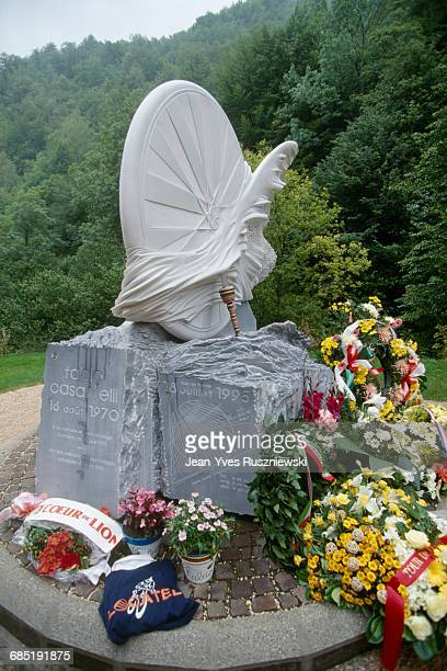 Tribute to Fabio Casartelli who died in a crash on the descent of the col de Portet d'Aspet during stage 15 of the 1995 Tour de France