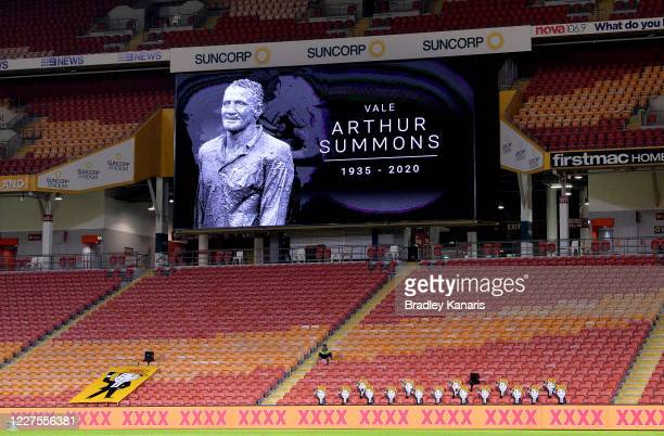 Tribute to former player and Rugby League Immortal Arthur Summons is seen during the round three NRL match between the Brisbane Broncos and the...