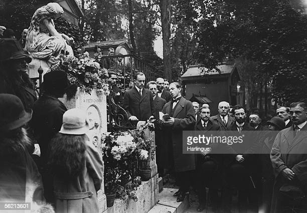 Tribute to Frederic Chopin on his tomb Rene Le Senne talking Paris cemetery of PereLachaise