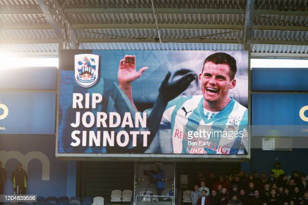 A tribute to Jordan Sinnott on the scoreboard during the Sky Bet Championship match between Huddersfield Town and Queens Park Rangers at John Smith's...