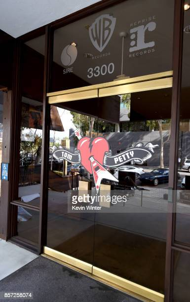 A tribute to musician Tom Petty is shown at Warner Bros Records on October 3 2017 in Burbank California Petty died on October 2 2017 at the age of 66