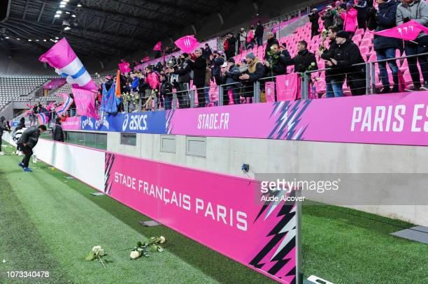 Tribute to Nicolas Chauvin during the Challenge Cup match between Stade Francais and Ospreys on December 14 2018 in Paris France