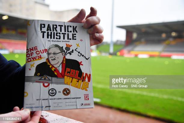 A tribute to Partick Thistle majority shareholder Colin Weir is displayed in the match program ahead of the Ladbrokes Championship match between...