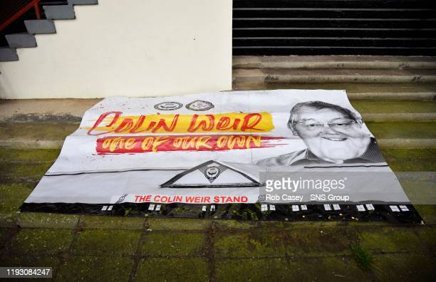 A tribute to Partick Thistle majority shareholder Colin Weir is displayed on a banner ahead of the Ladbrokes Championship match between Partick...