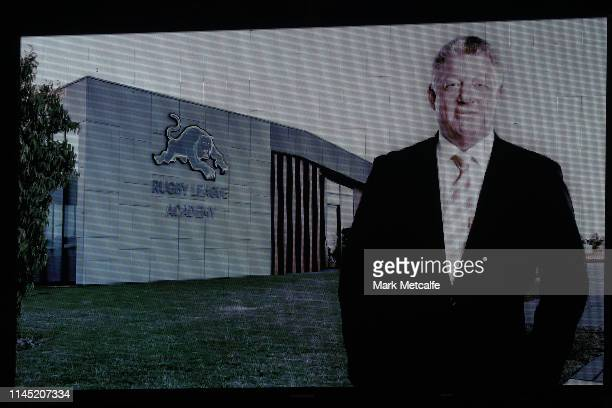 Tribute to Phil Gould is shown on the big screen before the round 7 NRL match between the Penrith Panthers and the South Sydney Rabbitohs at Panthers...