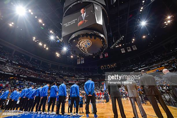 A tribute to Philip 'Flip' Saunders is displayed on the jumbotron before the Washington Wizards play against the Orlando Magic on October 28 2015 at...