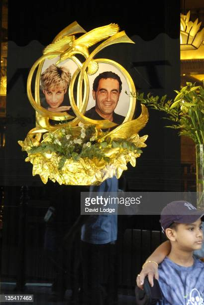 Tribute to Princess Diana and Dodi Fayed at Harrods to commemorate eight years since their deaths