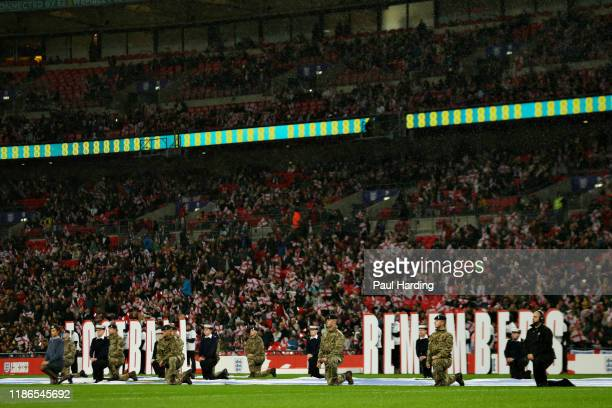 A tribute to Remebrance Sunday is seen before the International Friendly between England Women and Germany Women at Wembley Stadium on November 09...