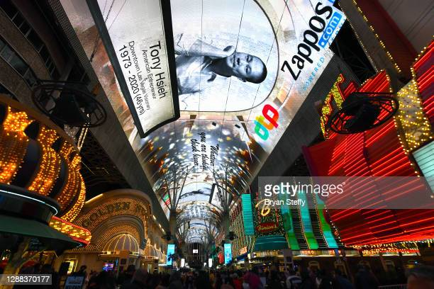 Tribute to tech entrepreneur Tony Hsieh is displayed on the Fremont Street Experience attraction's Viva Vision screen on November 28, 2020 in Las...