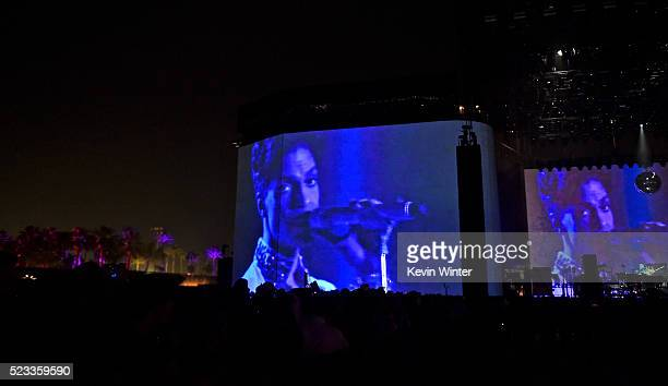 A tribute to the late musician Prince is shown with footage from his prior performance at Coachella 2008 during day 1 of the 2016 Coachella Valley...