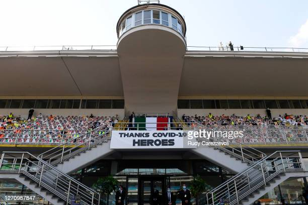 Tribute to the national health service of Italy is seen in the grandstand during the F1 Grand Prix of Italy at Autodromo di Monza on September 06,...