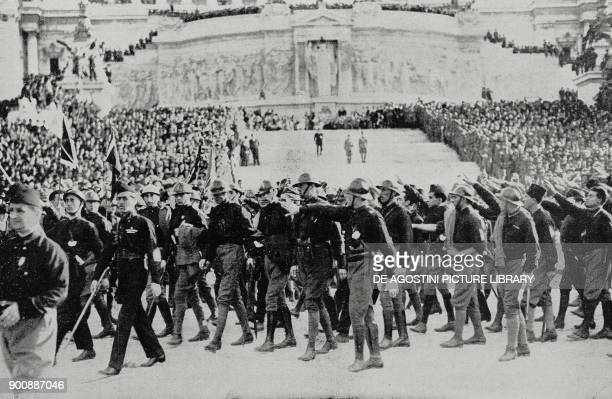 Tribute to the Unknown Soldier fascist parade on October 31 Rome March on Rome Italy from L'Illustrazione Italiana Year XLIX No 45 November 5 1922