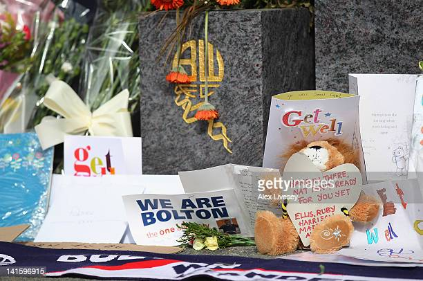 Tributes and get well messages are laid outside the Reebok Stadium for Bolton Wanderers' Fabrice Muamba at Reebok Stadium on March 19 2012 in Bolton...