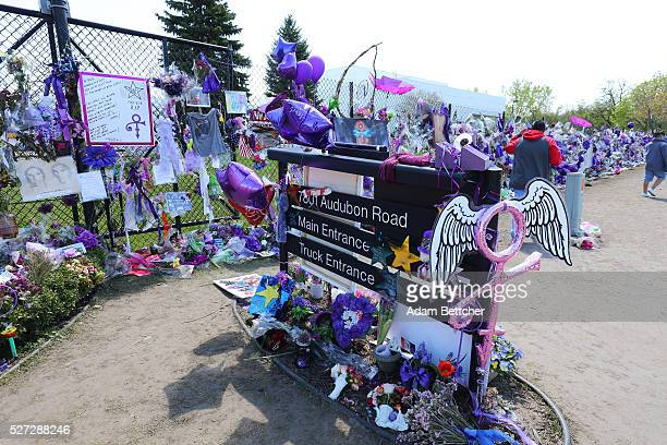 Tributes and memorials dedicated to Prince on the fence that surrounds Paisley Park on May 2 2016 in Chaska Minnesota Prince died on April 21 2016 at...