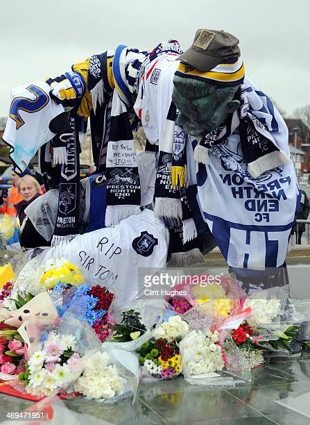 Tributes are laid at the statue of Sir Tom Finney outside Deepdale, home of Preston North End, prior to the Sky Bet League One match between Preston...