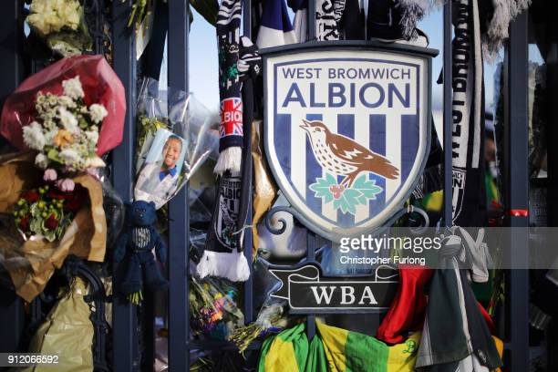 Tributes are left ahead of a memorial service for former West Bromwich Albion and Aston Villa football player Cyrille Regis at The Hawthorns on...