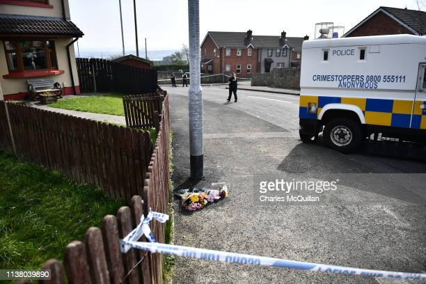Tributes are left at the scene of a shooting in which journalist Lyra McKee was killed on Fanad Drive on April 19 2019 in Londonderry Northern...