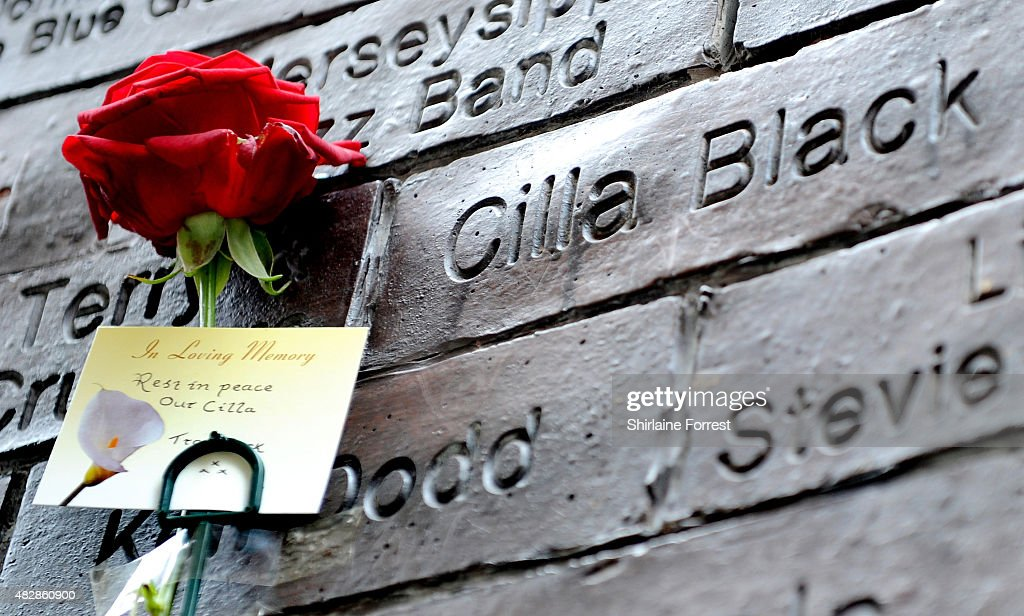 Tributes are left for Cilla Black outside The Cavern Club in her home town Liverpool on August 3, 2015 in Liverpool, England.