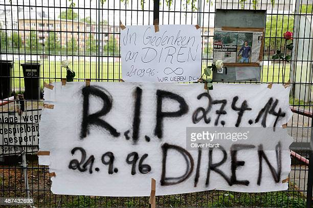 Tributes are left in memory of Diren Dede outside his local football club SC Teutonia 1910 on April 30 2014 in Hamburg Altona Germany German student...