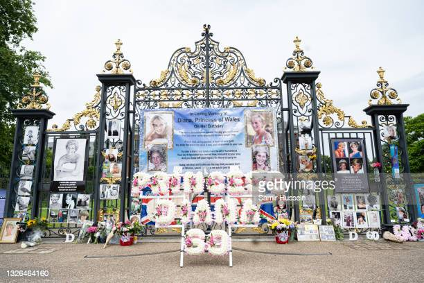 Tributes are left outside at Kensington Palace on what would have been the 60th birthday of Princess Diana, who died in 1997 on July 01, 2021 in...