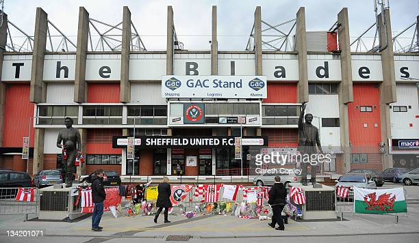 Tributes are left outside Bramall Lane ground in memory of former player and manager Gary Speed on November 28 2011 in Sheffield England Wales...