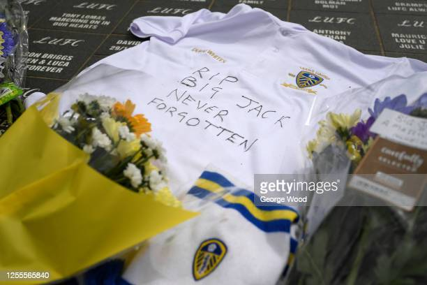 Tributes are paid to former England Football World Cup winner and Ireland manager Jack Charlton at Elland Road on July 11 2020 in Leeds England