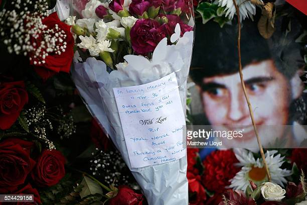 Tributes are placed at Sheffield Wednesday's Hillsborough stadium on April 26, 2016 in Sheffield, England. The fresh inquests into the 1989...