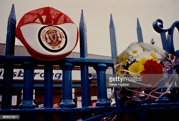 Tributes are placed outside the entrance to Hillsborough Stadium the day after the stampede which resulted in the deaths of 96 people Sheffield 16th...