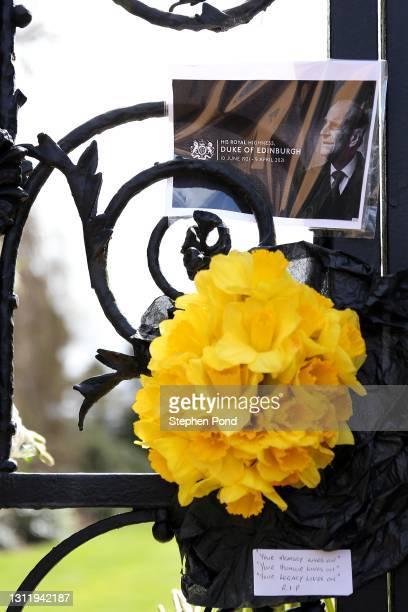 Tributes are seen at the gates to Sandringham House on the royal Sandringham Estate in Norfolk on April 11, 2021 in Sandringham, United Kingdom. The...