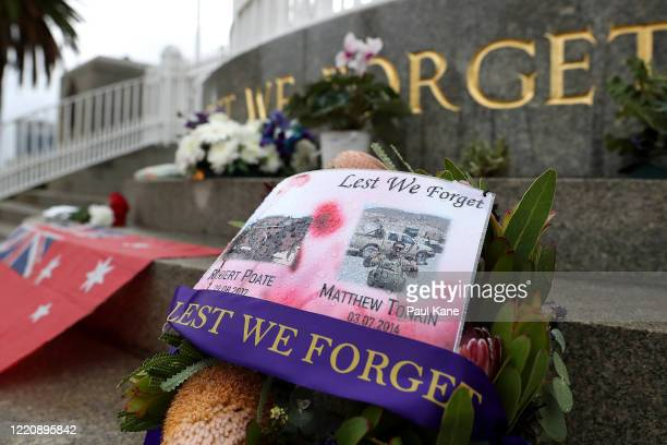 Tributes are seen at the State War Memorial in Kings Park on April 25, 2020 in Perth, Australia. Traditional Anzac Day ceremonies have been cancelled...