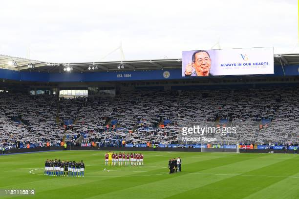Tributes are seen for former Leicester City owner Vichai Srivaddhanaprabha during the Premier League match between Leicester City and Burnley FC at...