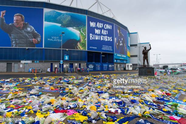 Tributes continue to be left to Emiliano Sala at the Cardiff City Stadium on February 8 2019 in Cardiff Wales Emiliano Sala was one of two people who...