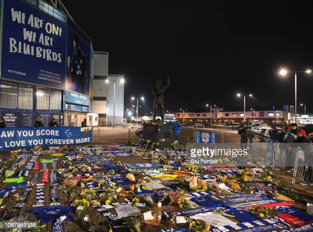 Tributes from Cardiff City fans are shown in front of the Cardiff City Stadium for their £15 Million forward Emiliano Sala after the search for the...