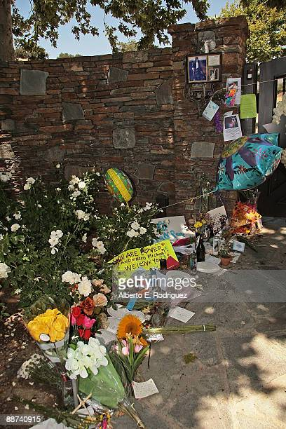 Tributes left by fans at Michael Jackson's Neverland Ranch on June 28 2009 in Los Olivos California