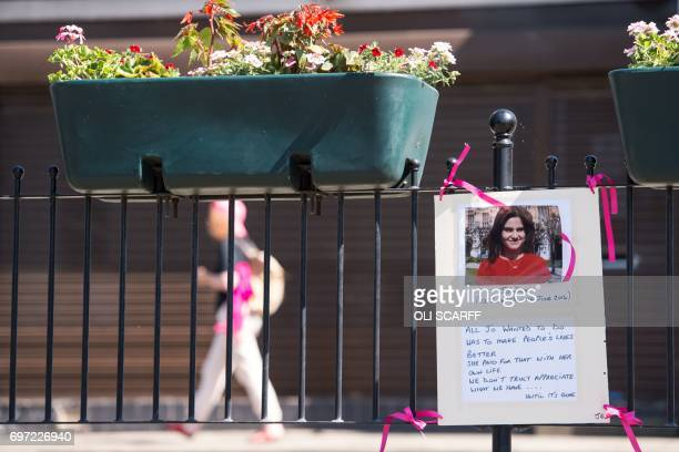 Tributes left for murdered Member of Parliament Jo Cox on the first anniversary of her death are seen near to the location where she was killed in...