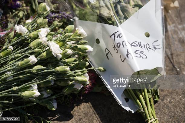 Tributes left for murdered Member of Parliament Jo Cox to mark the first anniversary of her death are seen near to the location where she was killed...