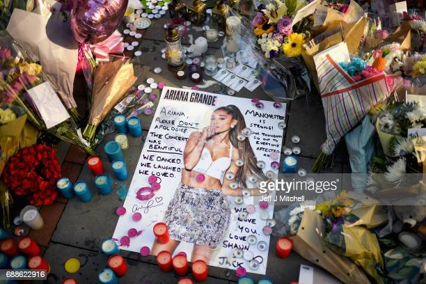 Tributes left in St Ann's Square for the people who died in Monday's terror attack at the Manchester Arena on May 26, 2017 in Manchester, England. An...