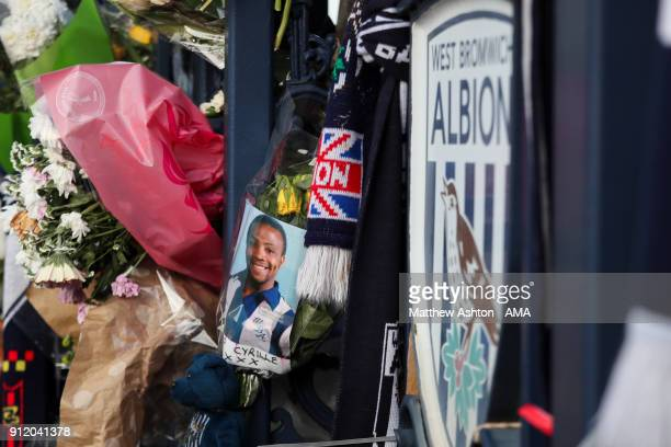 Tributes to Cyrille Regis outside The Hawthorns home stadium of West Bromwich Albion during the Cyrille Regis Memorial Service at The Hawthorns on...