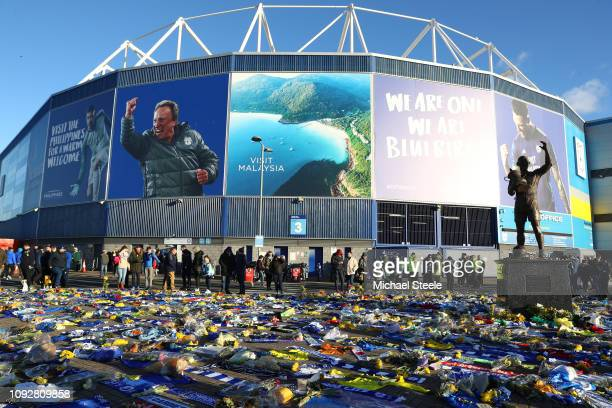Tributes to Emiliano Sala are seen outside the stadium prior to the Premier League match between Cardiff City and AFC Bournemouth at Cardiff City...