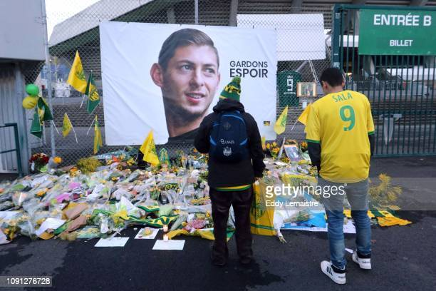 Tributes to Emiliano Sala before the Ligue 1 match between Nantes and Saint Etienne at Stade de la Beaujoire on January 30, 2019 in Nantes, France.