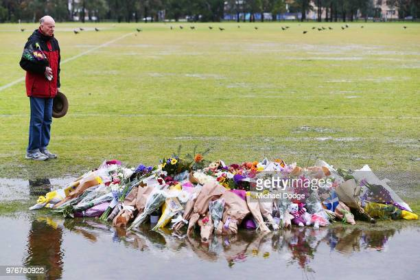 Tributes To Eurydice Dixon At Princes Park are laid on June 17 2018 in Melbourne Australia Eurydice Dixon was killed and allegedly raped as she...