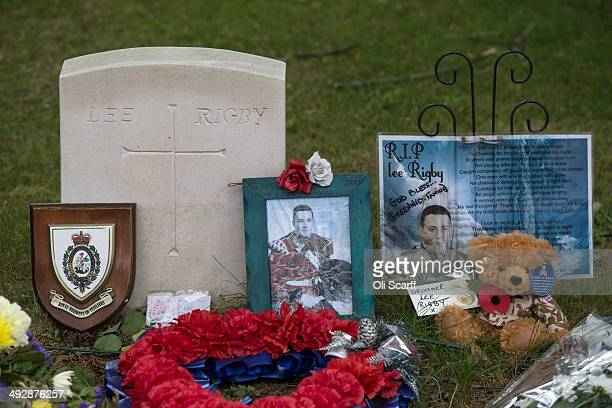 Tributes to fusilier Lee Rigby outside the Royal Artillery Barracks on the first anniversary of his murder on May 22 2014 in London England Michael...