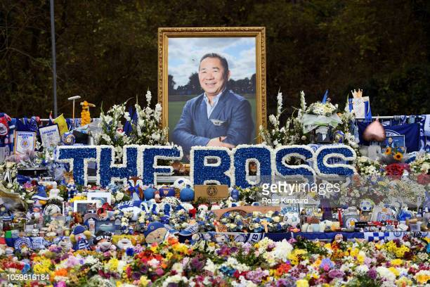 Tributes to Leicester City chairman Vichai Srivaddhanaprabha are seen outside the stadium prior to the Premier League match between Leicester City...